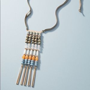 NEW Anthropologie Beaded Ladder Pendant Necklace